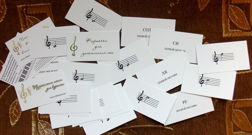 Размешанные карточки с нотами