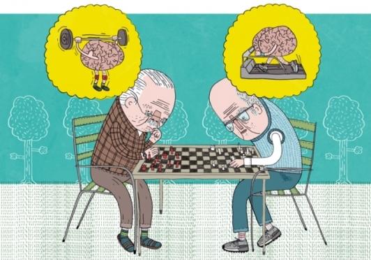 Пожилые старики играют в шахматы