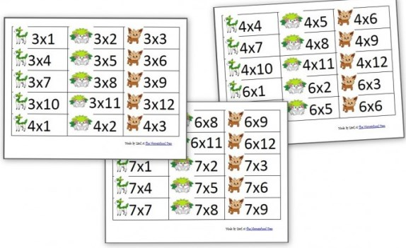 Карточки для обучения ребенка умножению